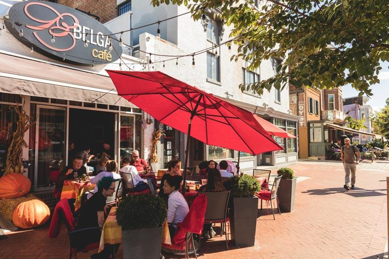 Outdoor patio at Belga Cafe on Barracks Row - Restaurant on Capitol Hill in Washington, DC