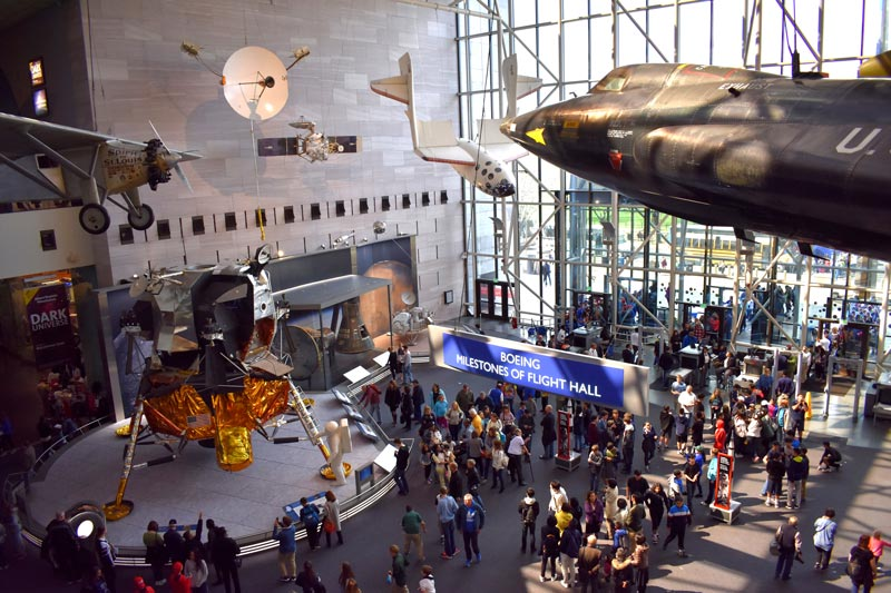Visitors at Smithsonian National Air and Space Museum on the National Mall - Free Smithsonian Museum in Washington, DC