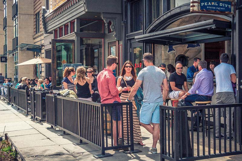 Outdoor patio of Pearl Dive bar and restaurant - Where to eat, shop and play on 14th Street in Washington, dC