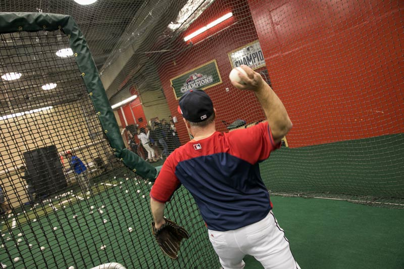 Hitting in the Washington Nationals batting cages at Nationals Park - The best things to do at Nationals Winterfest