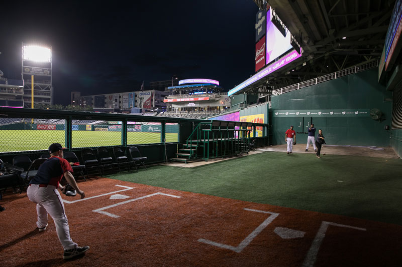 Pitching in the Washington Nationals bullpen at Nationals Park - The best things to do at Nationals Winterfest