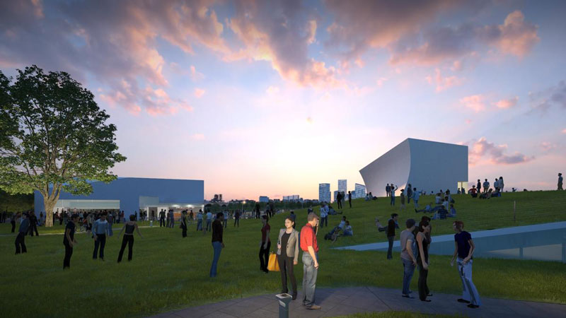 Rendering of guests enjoying The REACH at the John F. Kennedy Center for the Performing Arts in Washington, DC