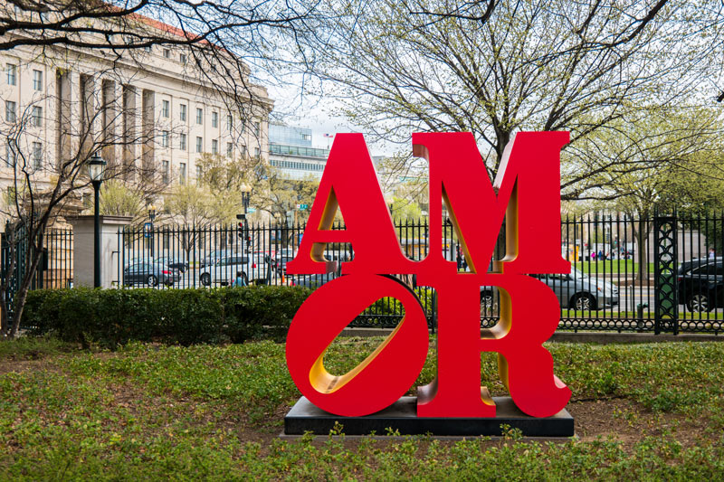 Robert Indiana's AMOR at the National Gallery of Art Sculpture Garden - Romantic Spots in Washington, DC