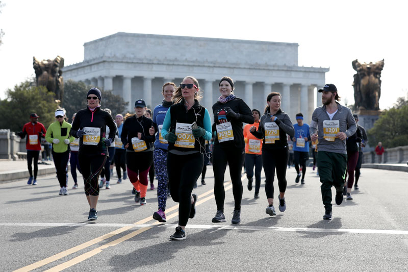 Runners participating in the Rock 'n' Roll Marathon in Washington, DC