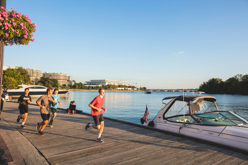 Running along the Potomac River on the Georgetown Waterfront - Best places to run in Washington, DC