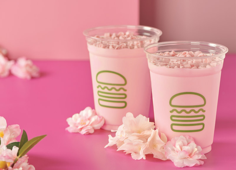 Cherry blossom milkshake from Shake Shack - Blossom-inspired food and drink in Washington, DC