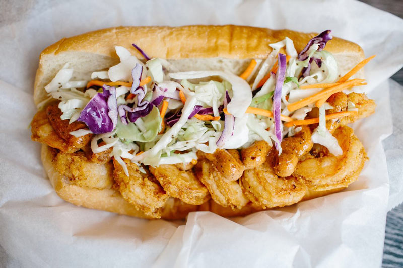 Shrimp po' boy from Puddin' at Union Market - The best food at Union Market food hall in DC