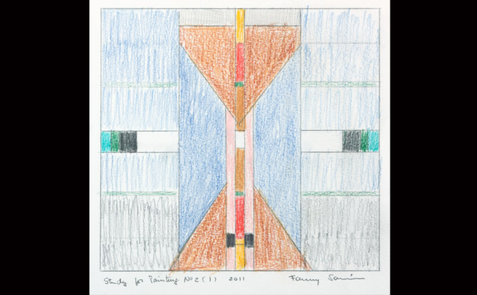 Museum Exhibits in Washington, DC - Fanny Sanín, Study for Painting No.2 (1), 2011; Color pencil on paper, 20 3/4 x 18 3/4 in. (framed)