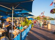 Diners outside at Fiola Mare seafood restaurant in Georgetown - Restaurant on the waterfront in Washington, DC