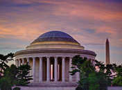 Jefferson and Washington Monuments at Sunset