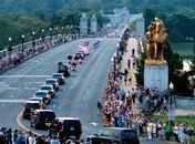 Official Government Motorcade Crossing Arlington Bridge in Washington, DC