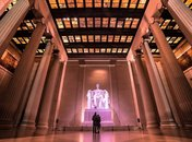@pearlrough - Couple standing in front of Lincoln Memorial at night - Romantic attractions in Washington, DC