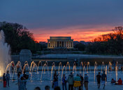 Sunset at the World War II Memorial & Lincoln Memorial - Washington, DC