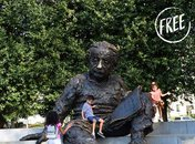 Children on Albert Einstein Memorial - Off-the-beaten path memorial in Washington, DC