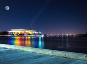 The John F Kennedy Center lit up with rainbow lights