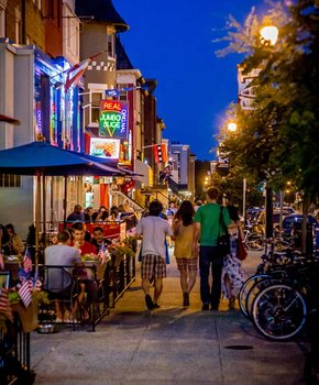 18th Street in Adams Morgan at night - Things to do in Washington, DC's Adams Morgan neighborhood