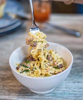 @eatdrinkdc - Pasta carbonara from Prather's on the Alley in Mount Vernon Square - Best restaurants in DC's Mount Vernon Square neighborhood
