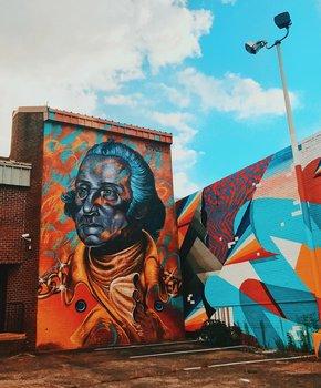 @_queendenise - George Washington street mural in NoMa near Union Market - Washington, DC