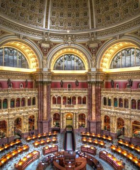 Library of Congress Main Reading Room in the Thomas Jefferson Building - Largest Library in the World in Washington, DC