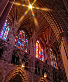 National Cathedral interior and stained glass