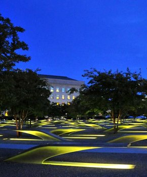 Nighttime at the National 9/11 Pentagon Memorial in Virginia