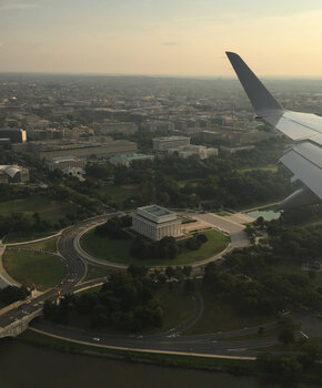 View of Lincoln Memorial from Plane Leaving Reagan National Airport - Where to Get the Best View of Washington, DC