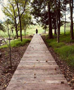 Visitor walking down outdoor pathway at the Glenstone - Free modern art museum near Washington, DC