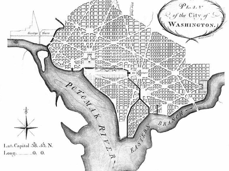Original L'Enfant Plans for Washington March from 1792