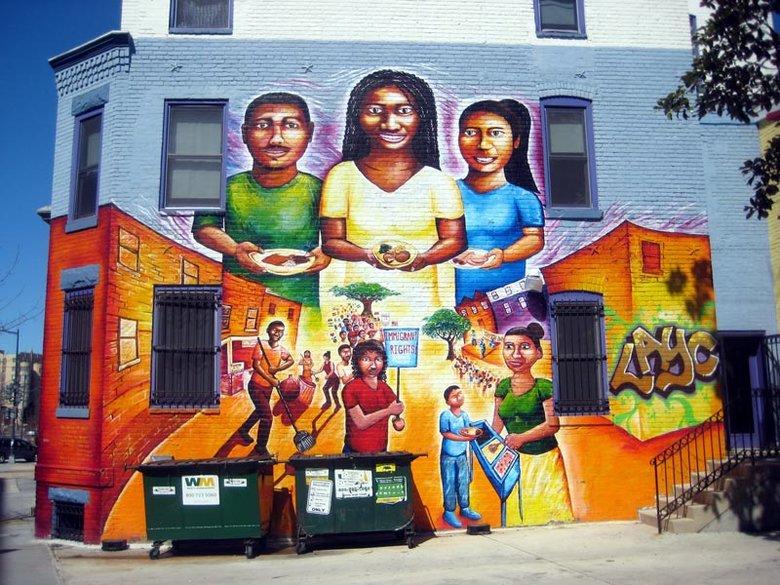 """Columbia Heights Street Mural in Washington - DC - """"My Culture, Mi Gente,"""" by artist Joel Bergner"""