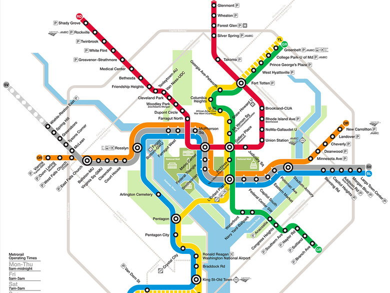WMATA Metro System Map for Washington, DC