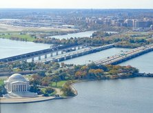 Washington, DC-area waterfront destinations - Aerial view of Potomac River and Jefferson Memorial