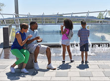 Family enjoying ice cream at Yards Park on the Capitol Riverfront - Family-friendly vacations in Washington, DC