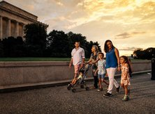 Family walking on the National Mall - How to tour the monuments and memorials in Washington, DC
