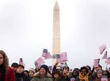 Inauguration Crowd with Washington Monument - Washington, DC