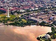 Aerial skyline view of Washington, DC