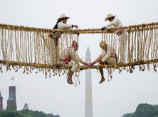Smithsonian Folklife Festival 2015 - Engineers from Quehue, Peru, complete the Q'eswachaka Bridge