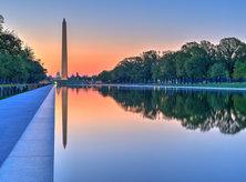 Washington Monument and Lincoln Memorial Reflecting Pool at Sunrise - Washington, DC