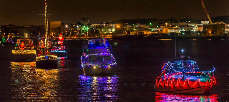 Witness the Holiday Boat Parade of Lights from Alexandria to The Wharf