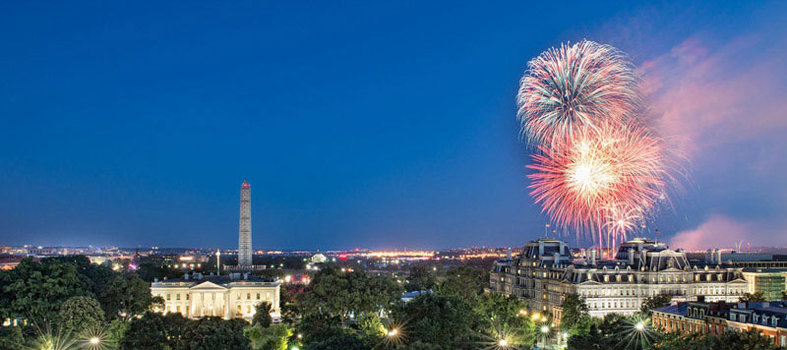 Check into a hotel overlooking the Potomac River or National Mall