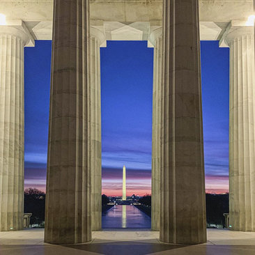 Sunrise from the Lincoln Memorial - @scenefrommyrun