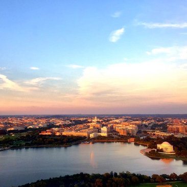 @brenntravels - Summer sunset over DC skyline flying into Reagan Airport - Best views of Washington, DC