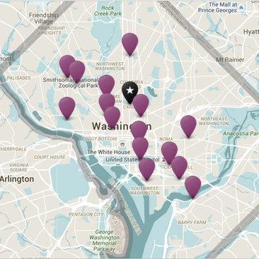dc neighborhoods plotted on map