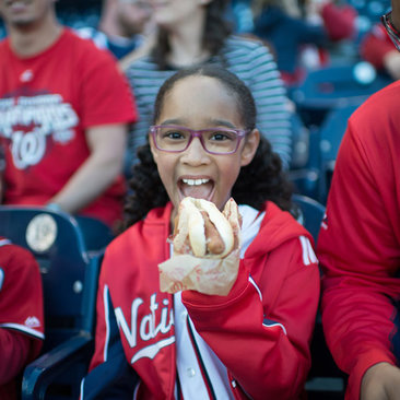 Family eating at Washington Nationals game - Where to eat and drink at Nationals Park