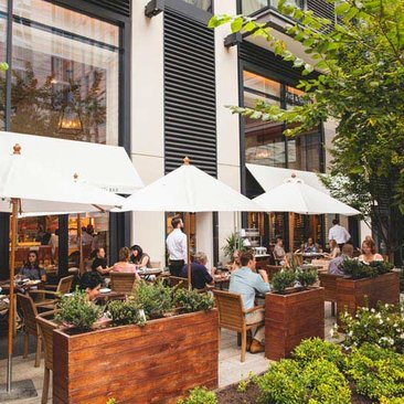 Outdoor patio dining in Washington, DC - Fig and Olive restaurant in CityCenterDC