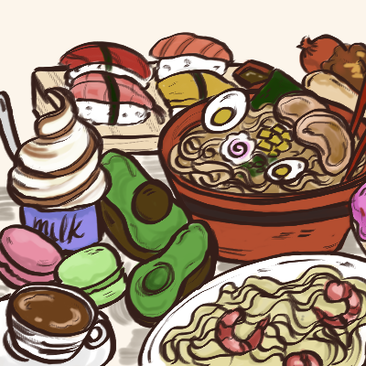 Food illustration with hamburger, ramen, pizza, ice cream.