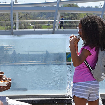 Family enjoying ice cream at Yards Park on the Capitol Riverfront - Summer in Washington, DC
