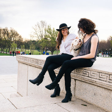 Couple by the Lincoln Memorial on the National Mall - LGBTQ-friendly things to see and do in Washington, DC