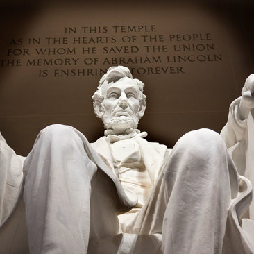 Lincoln Memorial Statue with Quote
