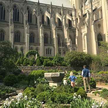 Upper Northwest Neighborhood in Washington, DC - Family at National Cathedral Bishop's Garden