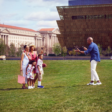 Family on National Mall near Smithsonian National Museum of African American History and Culture - Summer Vacation in Washington, DC